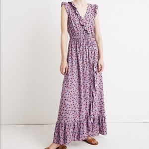 Madewell Pink Ruffled Floral Maxi Dress